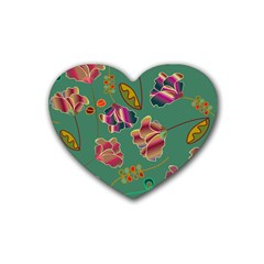 Flowers Pattern Heart Coaster (4 Pack)