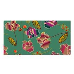 Flowers Pattern Satin Shawl by Nexatart