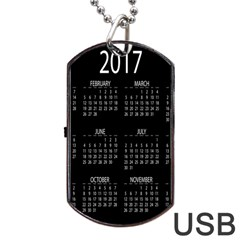 Full 2017 Calendar Vector Dog Tag Usb Flash (two Sides)