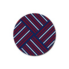 Geometric Background Stripes Red White Rubber Coaster (round)  by Nexatart