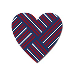 Geometric Background Stripes Red White Heart Magnet by Nexatart