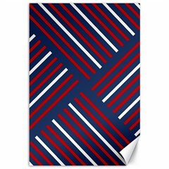 Geometric Background Stripes Red White Canvas 12  X 18   by Nexatart