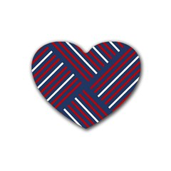 Geometric Background Stripes Red White Heart Coaster (4 Pack)