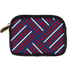 Geometric Background Stripes Red White Digital Camera Cases by Nexatart