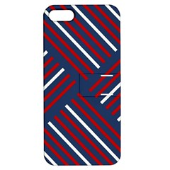 Geometric Background Stripes Red White Apple Iphone 5 Hardshell Case With Stand by Nexatart