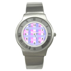 Gingham Checkered Texture Pattern Stainless Steel Watch
