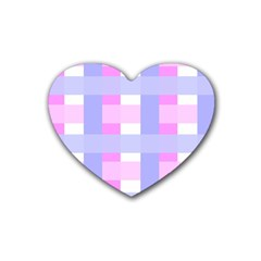 Gingham Checkered Texture Pattern Heart Coaster (4 Pack)