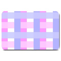 Gingham Checkered Texture Pattern Large Doormat  by Nexatart