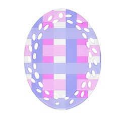 Gingham Checkered Texture Pattern Oval Filigree Ornament (two Sides)