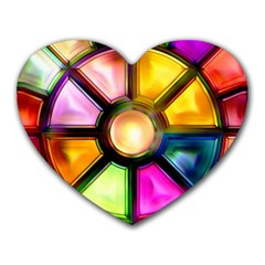 Glass Colorful Stained Glass Heart Mousepads by Nexatart