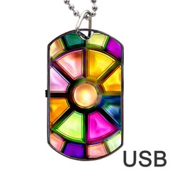 Glass Colorful Stained Glass Dog Tag Usb Flash (two Sides)