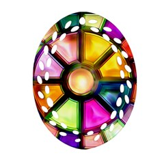 Glass Colorful Stained Glass Oval Filigree Ornament (two Sides) by Nexatart