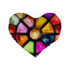 Glass Colorful Stained Glass Standard 16  Premium Flano Heart Shape Cushions