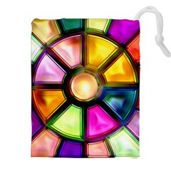 Glass Colorful Stained Glass Drawstring Pouches (xxl) by Nexatart
