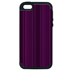 Deep Purple Lines Apple Iphone 5 Hardshell Case (pc+silicone) by Valentinaart