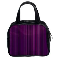 Deep Purple Lines Classic Handbags (2 Sides) by Valentinaart
