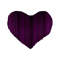 Deep Purple Lines Standard 16  Premium Flano Heart Shape Cushions by Valentinaart