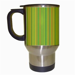 Green Lines Travel Mugs (white) by Valentinaart