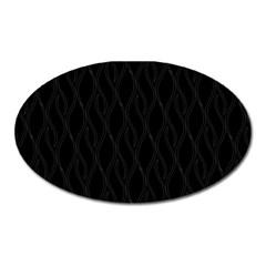 Black Pattern Oval Magnet by Valentinaart