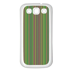 Green Lines Samsung Galaxy S3 Back Case (white) by Valentinaart