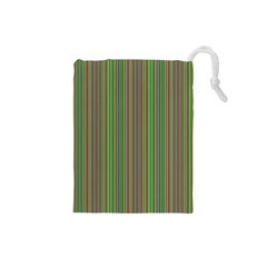 Green Lines Drawstring Pouches (small)  by Valentinaart
