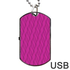 Magenta Pattern Dog Tag Usb Flash (two Sides) by Valentinaart