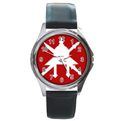 Flag Of The Myanmar Army Round Metal Watch by abbeyz71