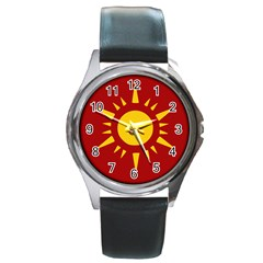Flag Of Myanmar Army Northeastern Command Round Metal Watch by abbeyz71