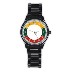 Flag Of Myanmar Shan State Stainless Steel Round Watch by abbeyz71
