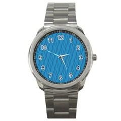 Blue Pattern Sport Metal Watch by Valentinaart