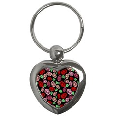 Red And Pink Roses Key Chains (heart)  by Valentinaart