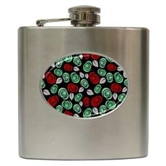 Decorative Floral Pattern Hip Flask (6 Oz) by Valentinaart