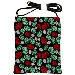 Decorative Floral Pattern Shoulder Sling Bags by Valentinaart
