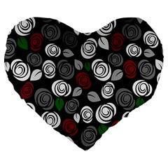 Elegant Roses Design Large 19  Premium Flano Heart Shape Cushions by Valentinaart