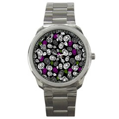 Purple Roses Pattern Sport Metal Watch by Valentinaart