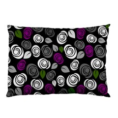 Purple Roses Pattern Pillow Case by Valentinaart