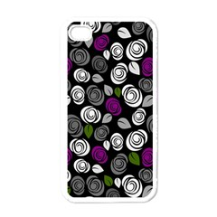 Purple Roses Pattern Apple Iphone 4 Case (white) by Valentinaart
