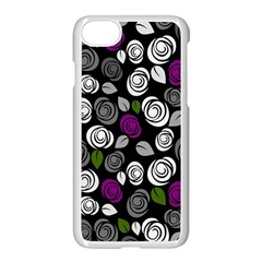 Purple Roses Pattern Apple Iphone 7 Seamless Case (white) by Valentinaart