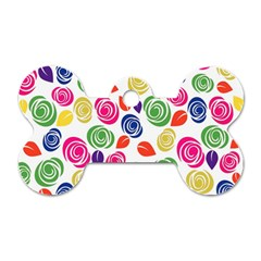 Colorful Roses Dog Tag Bone (two Sides) by Valentinaart