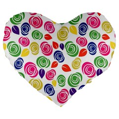 Colorful Roses Large 19  Premium Heart Shape Cushions by Valentinaart
