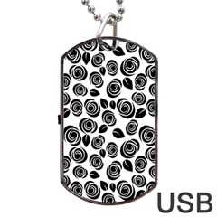 Black Roses Pattern Dog Tag Usb Flash (one Side) by Valentinaart