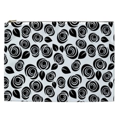 Black Roses Pattern Cosmetic Bag (xxl)  by Valentinaart