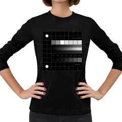 Grayscale Test Pattern Women s Long Sleeve Dark T Shirts