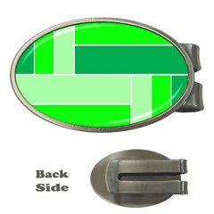 Green Shades Geometric Quad Money Clips (oval)