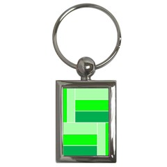 Green Shades Geometric Quad Key Chains (rectangle)  by Nexatart