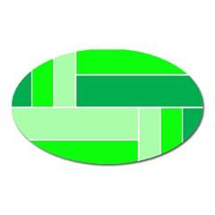 Green Shades Geometric Quad Oval Magnet by Nexatart
