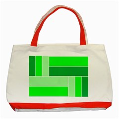 Green Shades Geometric Quad Classic Tote Bag (red) by Nexatart