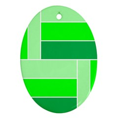 Green Shades Geometric Quad Oval Ornament (two Sides) by Nexatart