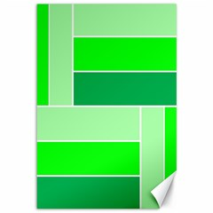 Green Shades Geometric Quad Canvas 12  X 18   by Nexatart