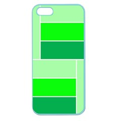 Green Shades Geometric Quad Apple Seamless Iphone 5 Case (color) by Nexatart